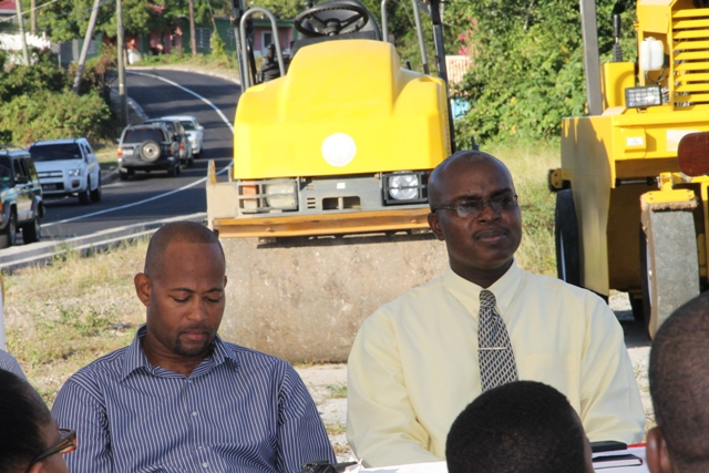 (L-R) Director of Public Works in the Nevis Island Administration Deora Pemberton and Permanent Secretary in the Ministry of Communication and Works Ernie Stapleton at the Opening and Renaming Ceremony of the Hamilton Road at Bocco Park on February 03, 2015