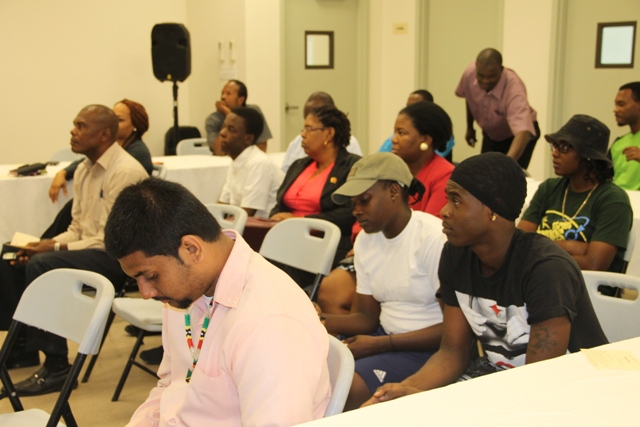 A section of persons at the Department of Youth and Sports website launch on February 09, 2015 at the Emergency Operations Centre at Long Point