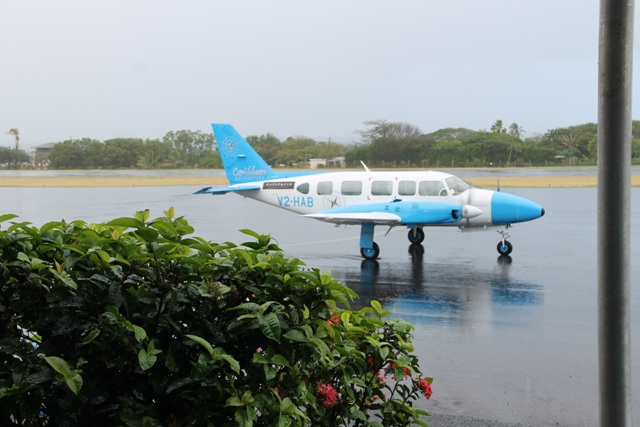 An Caribbean Helicopter Ltd. aircraft landing at the Vance W. Amory International Airport on February 20, 2015, for commencement of its air service to and from Nevis via Antigua.