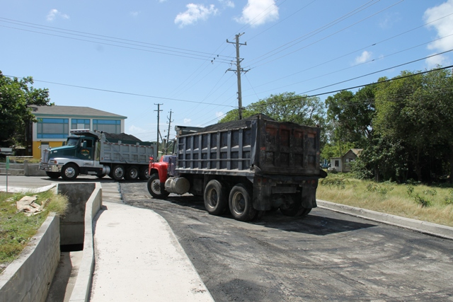 Locally owned trucks and local material used to refurbish the Charlestown Bypass and the Hamilton Road. It has since been renamed the Stuart Williams Drive and the Carl Tuckett Boulevard