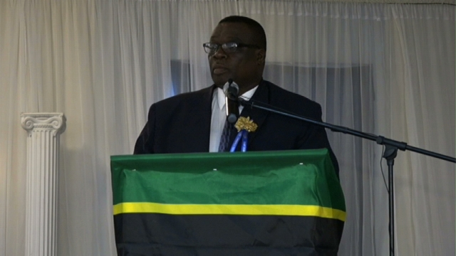 Superintendent Hilroy Brandy delivering remarks at the 12th Annual Constables Awards Ceremony and Dinner on February 28, 2015 at the Occasions Entertainment Arcade.