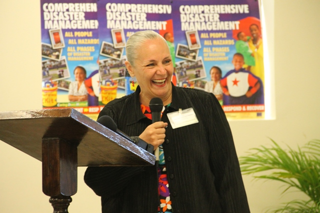 President of the Youth for Human Right International Dr. Mary Shuttleworth delivering remarks at the UNESCO Youth for Human Rights Awareness Training for Trainers Workshop on March 4, 2015 at the Disaster Management Department's Emergency Operation Center Conference Room.