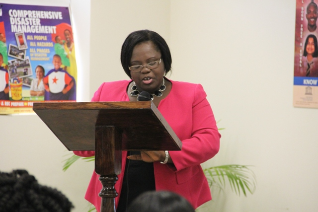 Minister of Social Development Hon. Hazel Brandy–Williams delivering remarks at the UNESCO Youth for Human Rights Awareness Training for Trainers Workshop on March 4, 2015 at the Disaster Management Department's Emergency Operation Center Conference Room.