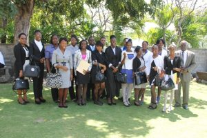 Youth Parliamentarians with President of the Nevis Island Assembly Hon. Farrell Smithen (front extreme right) and Clerk of the House Shemica Maloney (front row extreme left)