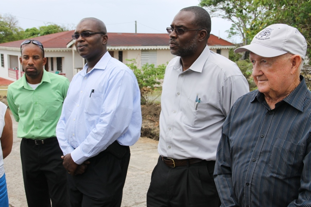 Manager of the Nevis Water Department Roger Hanley, Permanent Secretary in the Ministry of Communication and Works and Public Utilities Ernie Stapleton, Assistant Secretary in the Ministry of Communication and Works and Public Utilities Denzil Stanley and Project Coordinator Kennedy Brian from the Nevis Island Administration on a field visit to ongoing works for the Nevis Water Supply Enhancement Project  at Camps Village on April 16, 2015 with Caribbean Development Bank officials