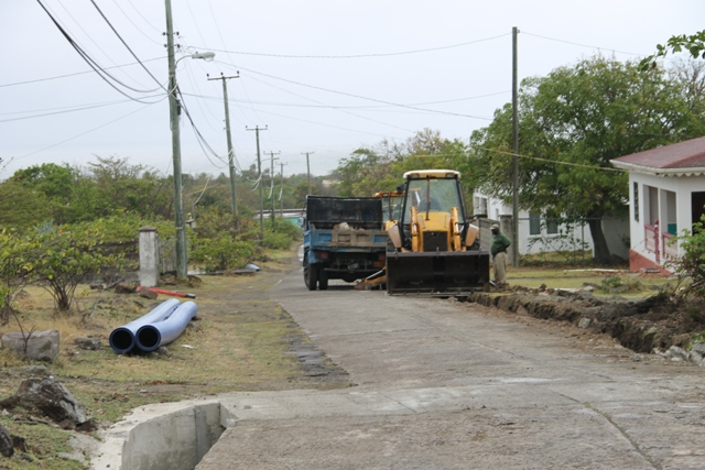 : Ongoing works at Camps Village with the Nevis Water Supply Enhancement Project on April 16, 2015