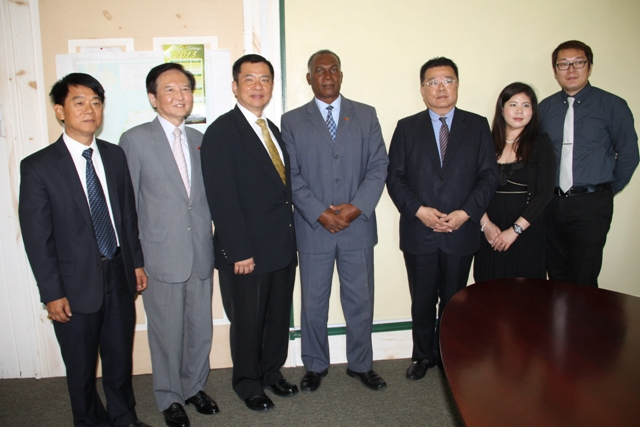 Taiwan International Cooperation Development Project Manager Chang Ching Yeh, Counsellor of the Embassy of the Republic of China (Taiwan) David Y T Yu, Ambassador of the Republic of China (Taiwan) of St.Kitts and Nevis His Excellency George Gow Wei Chiou, Premier of Nevis Hon. Vance Amory, Speedtech Energy General Manager Lucas Chiu, Director Emma Huang and Engineer Bruce Wu on April 08, 2015, at the Nevis Island Administration building at Bath Plain