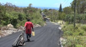 : A section of the road project by the Public Works Department on Nevis which connects Lampa Hill to Bailey Yard, Cole Hill and Brown Hill