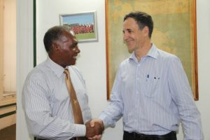 Premier of Nevis Hon Vance Amory (left) welcomes Israeli Ambassador to St. Kitts and Nevis and the Caribbean His Excellency Mordehai Amihai-Bivas during a courtesy call on April 07, 2015, at the Nevis Island Administration building at Bath Plain