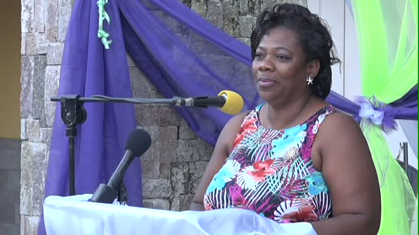 Coordinator in the Gender Affairs Division Lorraine Archibald delivering remarks at the Women of Excellence Awards and Cocktail on March 29, 2015 at the Nevis Performing Arts Centre's courtyard
