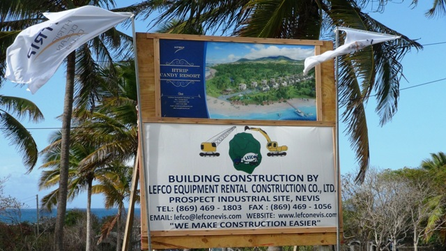 A billboard along the island main road at Liburd Hill showing local contractor LEFCO Equipment Rental Construction Co. Ltd who will construct the US$20 million HTRIP Candy Resort Villa Development