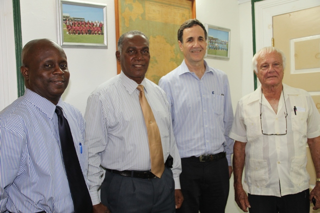 (L-R) Permanent Secretary in the Premier's Ministry Wakely Daniel, Premier of Nevis Hon. Vance Amory, Israel's Ambassador to St. Kitts and Nevis and the Caribbean His Excellency Mordehai Amihai-Bivas and Israel's Honorary Consul in St. Kitts and Nevis Jacques Cramerat the Nevis Island Administration building in Bath Plain on April 07, 2015