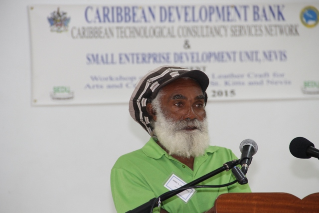 Workshop Facilitator Amica Antrobus at the opening ceremony of the Caribbean Development Bank-sponsored Intermediate Leather Craft Workshop on May 11, 2015 at St.Pauls Anglican Church School Hall
