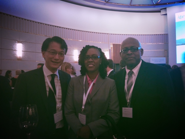 Head of Wealth Planning Hong Kong Henry Lam, Director of the Nevis Investment Promotion Agency Kimone Moving and Financial Advisor for the Nevis Island Administration Laurie Lawrence at the Henley & Partners series of residence and citizenship forum on May 5, 2015 in Zurich, Switzerland
