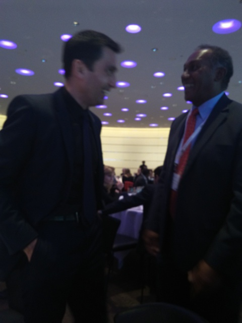 (L-R) Zenith Nevis Property Representative Baard Snilseerg and Premier of Nevis Hon Vance Amory at the Henley & Partners series of residence and citizenship forum on May 5, 2015 in Zurich, Switzerland