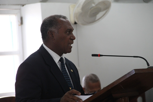 Premier of Nevis and Minister of Finance in the Nevis Island Administration Hon. Vance Amory at the Nevis Island Assembly sitting on May 27, 2015