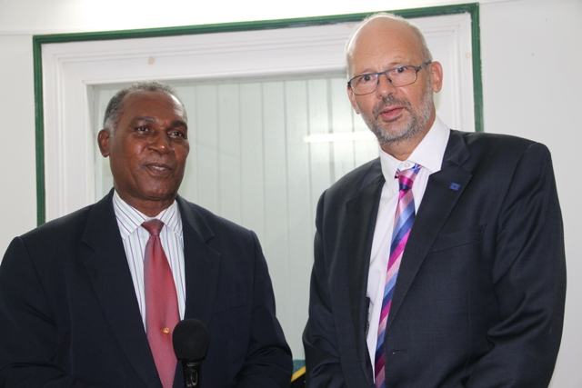 : (L-R) Premier of Nevis Hon. Vance Amory and Ambassador Head of Delegation of the European Union to Barbados and the Eastern Caribbean His Excellency Mikael Barfod at the Premier's Bath Hotel Office on May 26, 2015