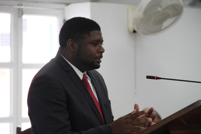 Junior Minister in the Ministry of Communication Works and Public Utilities Hon. Troy Liburd at the May 25, 2015 sitting of the Nevis Island Assembly