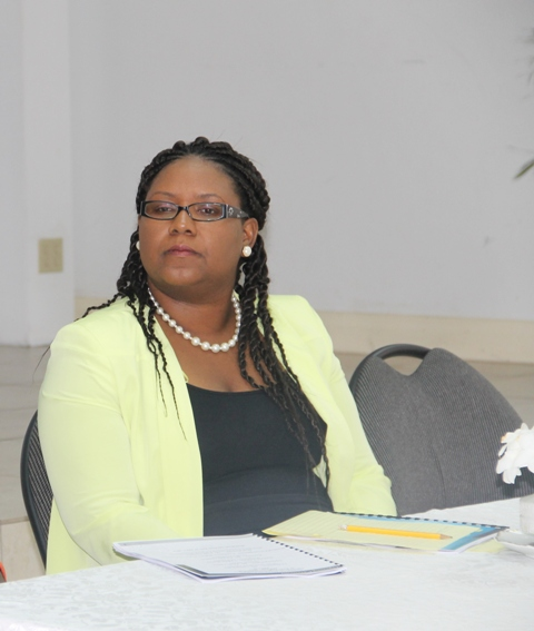 Coordinator of Youth Development in the Department of Youth and Sports Zahnela Claxton at the opening ceremony of the Department's annual Summer Job Attachment Programme on June 29, 2015, at the St. Paul's Anglican Church Hall