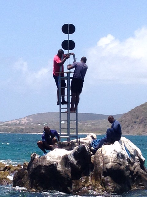 The frame for the navigational lighting on top of Cow and Calf rocks in the Narrows between St. Kitts and Nevis