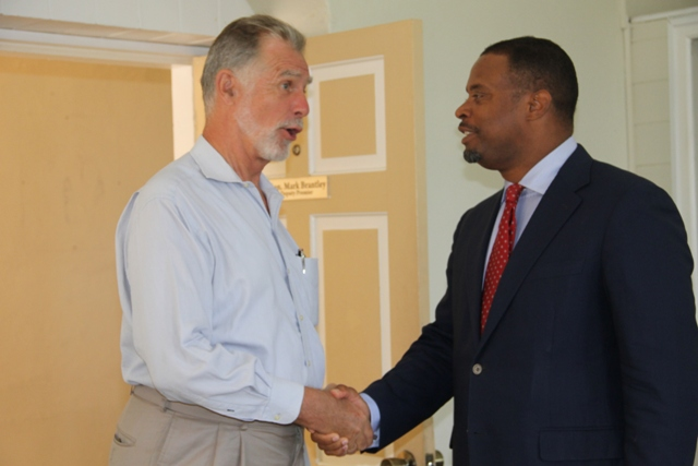Foreign Affairs Minister of St. Kitts and Nevis and Deputy Premier of Nevis Hon. Mark Brantley welcomes Ambassador of the Federal Republic of Germany to St. Kitts and Nevis His Excellency Lutz Görgen during a courtesy call on June 24, 2015 at the Nevis Island Administration building at Bath Plain