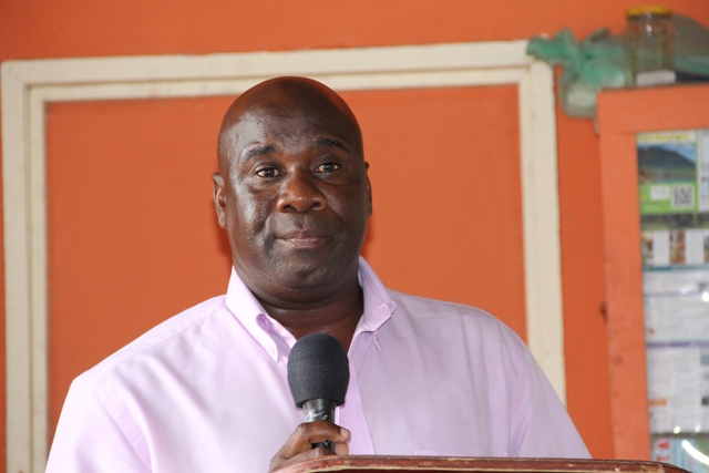 Minister of Co-operatives Alexis Jeffers delivering remarks at the opening ceremony of the Newcastle Pottery Making workshop on June 8, 2015 at the Newcastle Pottery