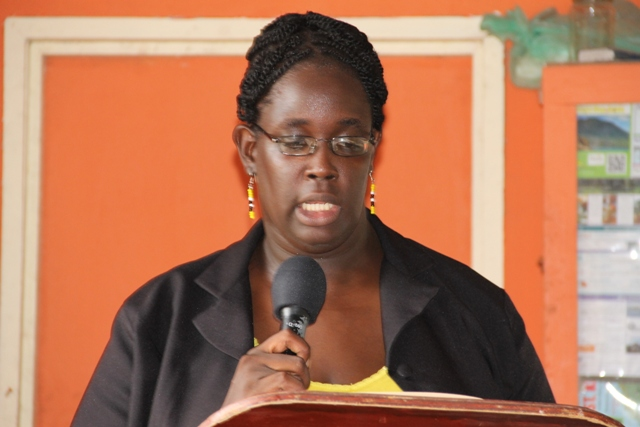Supervisor in the Department of Co-operatives Joalyn Myers-O'garro delivering remarks at the opening ceremony of the Newcastle Pottery Making workshop on June 8, 2015 at the Newcastle Pottery