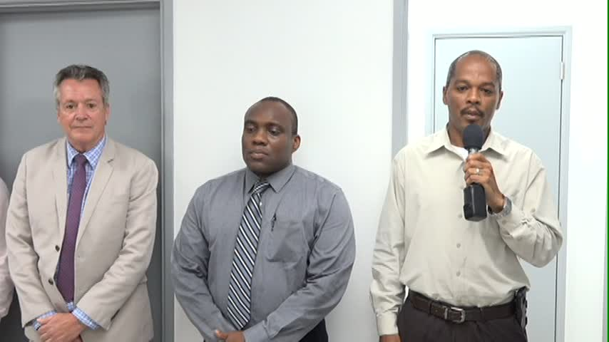 (L-R) Dean of Basic Science at the Medical University of the Americas Ralph Crum, Obstetrics and Gynaecology specialist Dr. John Essien and Hospital Administrator Gary Pemberton at the handing over ceremony at the Alexandra Hospital on June 12, 2015