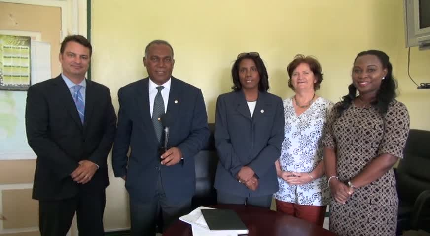 (L-R) Senior Director of Product Development of The Nature Conservancy Robert Weary, Premier of Nevis Hon. Vance Amory, Country Coordinator Janice Hodge, The Nature Conservancy's Programme Director for the Eastern Caribbean Ruth Blyther and Programme Manager for the Eastern Caribbean Dr. Shirley Constantine at the Nevis Island Administration's Cabinet Room at Bath Hotel on June 11, 2015