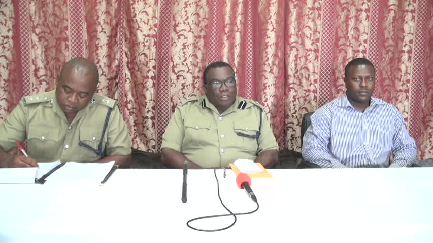 (L-R) Inspector in charge of Beat and Patrol Conrad Bertie and Head of the Royal St. Christopher and Nevis Police Force, Nevis Division Superintendent Hilroy Brandy and Inspector in charge of Out Stations Inspector Alonzo Carty