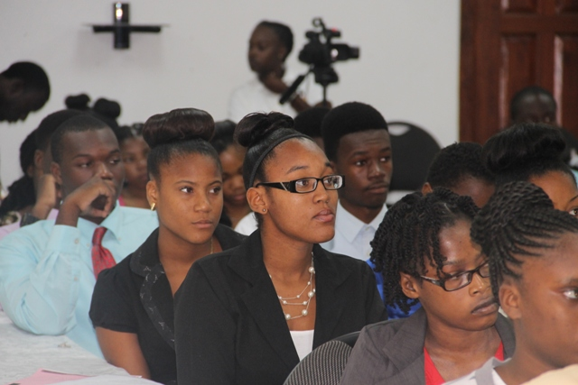Some of the participants at the opening ceremony of the Department of Youth and Sports annual Summer Job Attachment Programme on June 29, 2015, at the St. Paul's Anglican Church Hall