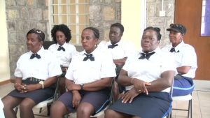 The six Traffic Wardens, new additions to the Royal St. Christopher and Nevis Police Force, Nevis Division (front row L-R) Kathleen Liburd attached to the Gingerland Police Station, Marva Bailey attached to the Charlestown Police Station, Jasmine Barry attached to the Charlestown Police Station (back row L-R) Sherise Williams attached to the Cotton Ground Police Station, Sonia Wilson attached to the Newcastle Police Station and Sherilyn Smithen attached to the Gingerland Police Station