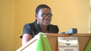 Principal Education Officer in the Department of Education Palsy Wilkin delivering remarks at the Department's annual Prospective Teachers' Course at Pinney's on June 22, 2015