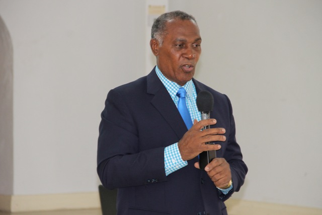"Premier of Nevis Hon Vance Amory, delivering remarks at The Department of Human Resources' ""Understanding the Public Service"" seminar on July 8, 2015, at the St. Paul's Anglican Church Hall"