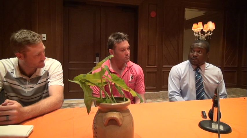(L-R) St. Kitts-Nevis Patriots player Martin Guptil, Trinidad Red Steel player Jacque Kallis and Permanent Secretary in the Ministry of Sports Keith Glasgow at a press briefing at the Four Season Resort's Hibiscus conference room on July 01, 2015