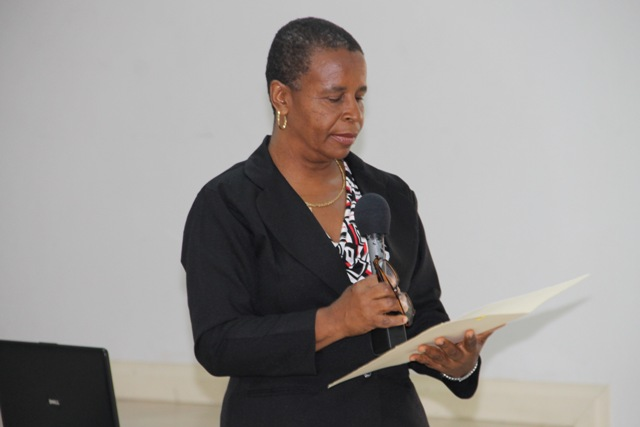 "Permanent Secretary (Ag) in the Department of Human Resources Ornette Herbert delivering remarks at The Department of Human Resources' ""Understanding the Public Service"" seminar on July 8, 2015, at the St. Paul's Anglican Church Hall"