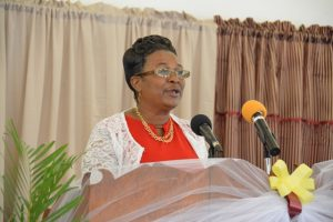 Veteran Educator on Nevis Marion Lescott delivering the school report at the recent graduation ceremony of the Elizabeth Pemberton Primary School at the United Pentecostal Church, Marion Heights