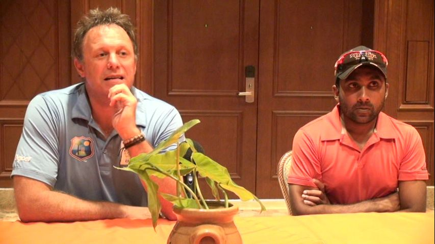 (L-R) Chief Operating Officer of CPL Ltd. Pete Russell and St. Kitts-Nevis Patriots player Mahela Jayawardene at a press briefing at the Four Season Resort's Hibiscus conference room on July 01, 2015