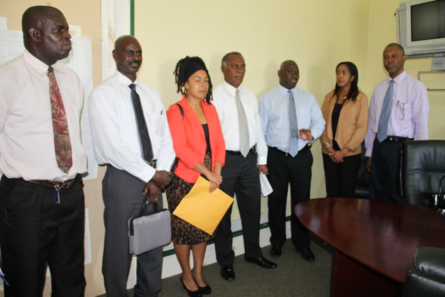 (l-r) TVET Coordinator in Nevis Orette Smith, Federal Education Planner Quinton Morton, Education Planner within the Department of Education Nevis Dr. Neva Pemberton, Premier of Nevis and Minister of Education Hon. Vance Amory, Caribbean Development Bank Operation Officer (Education) Dr. Martin Baptise, Legal Counsel Alana Goodman Smith and Operation Officer (Civil Engineer) M. Stephen Lawrence.