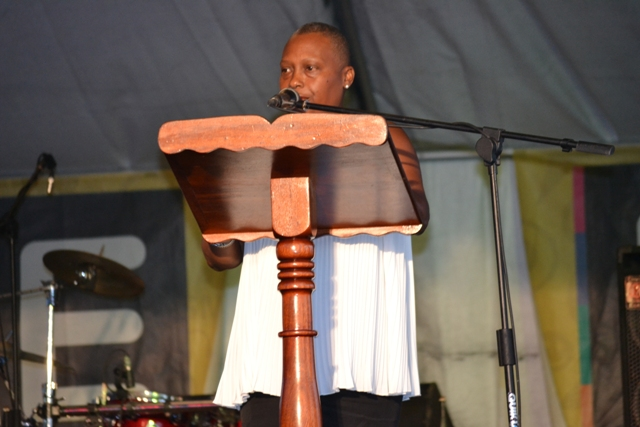 Chairperson of the Culturama 41 Deborah Tyrell delivering remarks at the launch of Culturama 14 on the Charlestown Waterfront on July 23, 2015