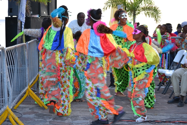 Traditional Clowns dancing at the launch of Culturama 41 on the Charlestown Waterfront on July 23, 2015