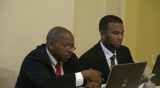 Facilitators of the workshop organised by the Nevis Financial Services Regulatory and Supervision Department in conjunction with the Ministry of Finance and the National FATCA Committee (l-r) Claudel Romney and Alex Anderson at the opening ceremony at the Mount Nevis Hotel on July 07, 2015