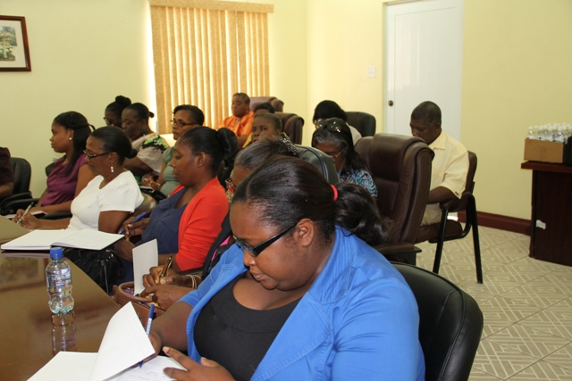 Head teachers on Nevis at a meeting with Premier of Nevis and Minister of Education Hon. Vance Amory at the Ministry of Finance conference room on July 21, 2015