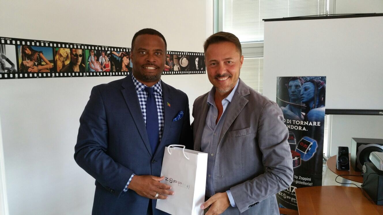 Minister of Foreign Affairs in St. Kitts and Nevis Hon. Mark Brantley (left) meeting with Italian jewellery designer Zoppini