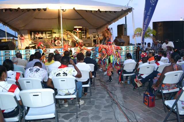 Masquerades dancing at the launch of Culturama 41 on the Charlestown Waterfront on July 23, 2015