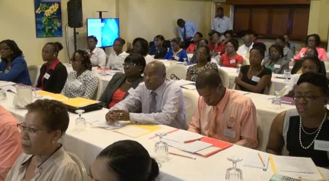 Some of the Industry providers at the opening ceremony of a workshop organised by the Nevis Financial Services Regulatory and Supervision Department in conjunction with the Ministry of Finance and the National FATCA Committee at the Mount Nevis Hotel on July 07, 2015