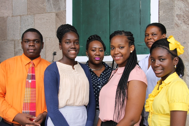 (L-R)) Secondary school students who will take part in the 40th Commonwealth Parliamentary Association (CPA) Caribbean, Americas and Atlantic Region's conference in Tortola, British Virgin Islands (l-r) Rol-J Williams, Joanne Manners, Shanai Liburd and Tassai Pemberton with Clerk of the Nevis Island Assembly Shemica Maloney and the student's chaperon during their visit to Tortola Lorna Bussue