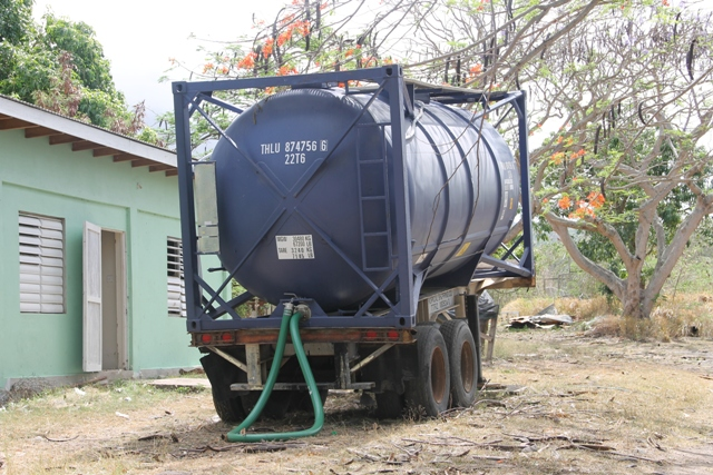 The tank of molasses available for livestock farmers at the Prospect Agricultural Station. It was imported into the island through a Nevis Island Administration Department of Agriculture/Supply Office initiative