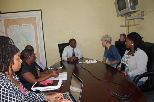 (L-R) Education Planner Dr. Neva Pemberton, Principal Education Officer Palsy Wilkin, Permanent Secretary in the Premier's Ministry Wakely Daniel, Premier of Nevis and Minister of Education Hon. Vance Amory, California based two-time Olympian Marilyn King at a meeting to discuss training for teachers through her Olympian Thinking programme at the Nevis Island Administration conference room at Bath Hotel on August 25, 2015