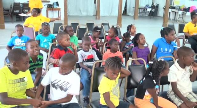 Some participants at the 26th annual Environmental Education Programme offered by the Nevis Public Library Services at the Charlestown Methodist Church Hall on August 05, 2015